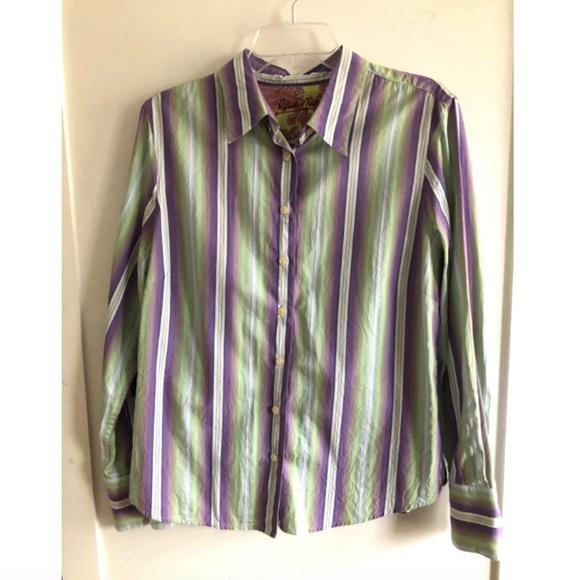 3b0437f6 Robert Graham Womens Stripe Shirt Contrast Cuff L.  M_5b0c6ff531a376b6291c6702